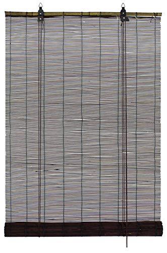 GARDINIA Bambus-Rollo Schoko, Decken- oder Wandmontage, Lichtdurchlässig, Blickdicht, Alle Montage-Teile inklusive, 80 x 160 cm (BxH)