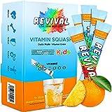 Revival Kids Daily Multivitamin Squash Drink - Vitamin D, A, C, K, B6, B12 - Immunity, Growth, Development - Orange Pineapple 30 Pack