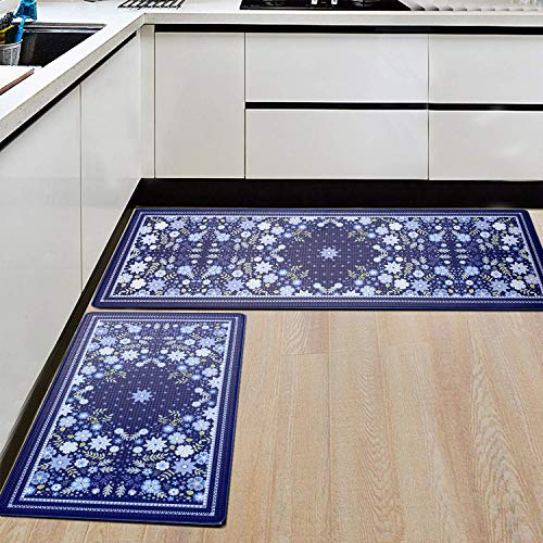 2PCS Kitchen Mat, Cushioned Anti-Fatigue Kitchen Rugs and Mats Non-Slip Ergonomic Comfort Foam Carpet Set,Water Oil Proof Standing Rug for Laundry, Floor Home, Office, Sink