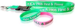 Alpha Kappa Alpha Sorority AKA Gift Set (1 Woven Embroidered Lanyard & 2 Silicone Bracelets)