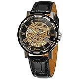 Nero elegante quadrante scheletro mano-vento uomo meccanico orologi da polso in pelle