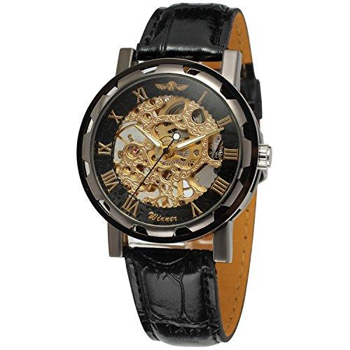 Yoodeet Reloj de pulsera negro Jechin para hombre con maquinaria vista, cuerda manual, cuero sintético, mecánico