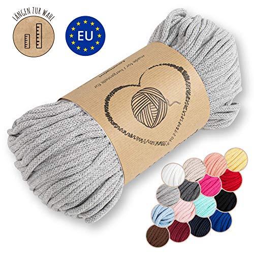 Amazinggirl Hilo Macrame 5 mm trapillo bobinas - Cuerda Algodon Cordon para Trenzado Tejer a Crochet Manualidades Gris Claro
