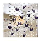 AKDSteel Cortina de cuentas de cristal de 1 m, decoración de fondo para bodas, diseño de mariposas, color lila