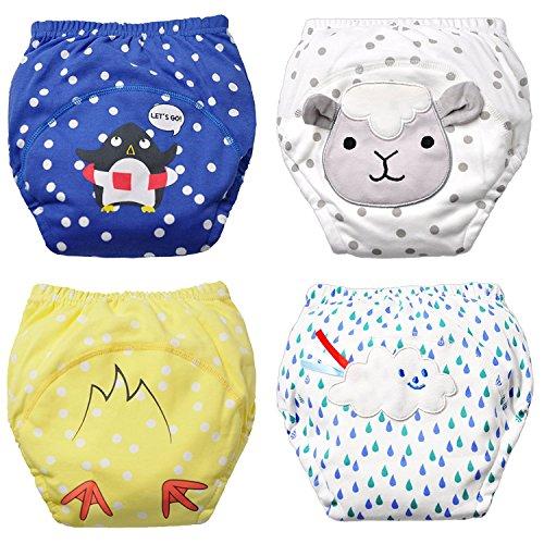 Flyish Packungen Baby Jungen Waschbar Töpfchen Hose Wiederverwendbare Trainingsunterwäsche Absorbent Unterwäsche, Baby-jungen, 4 Jahre