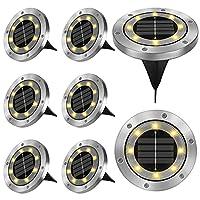 【 Luci solari chiari 】: le nostre lampade solari da pavimento sono costituite da 8 LED, batteria integrata da 800 mAh, dopo 6 – 8 ore di carica completa, la lampada da giardino può emettere una durata di circa 8 – 12 ore. (La ricarica e i tempi di la...