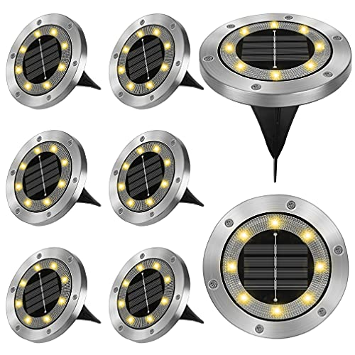 Solarleuchten für Außen, Opard 8 LED Solarlampen für Außen Garten Solar Gartenleuchte Bodenleuchten IP65 Wasserdichte Bodenstrahler Geeignet für Gärten, Innenhöfe, Rasenflächen, Terrassen