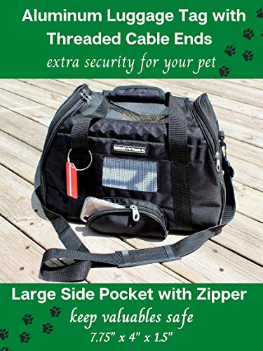Airline Approved/Travel Transport Pet Carrier/ 2 Soft Fleece Pads/Washable/ 2019 Newly Designed/Pet Purse/Travel Tote/Kennel Cab/Foldable/Portable Pet Crate/Safety/Shoulder Suitcase Straps