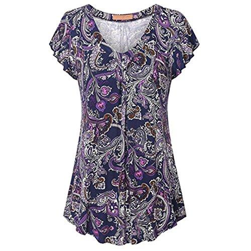 vermers Dames Plus Size Tops, Print Geplooide Korte mouw V-hals Shirt Tuniek Blouse