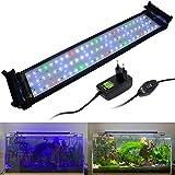 VARMHUS Iluminación de acuario de espectro completo con soportes extensibles, LED azul, blanco, verde y rojo, para acuarios de 50 a 75 cm (18 W)