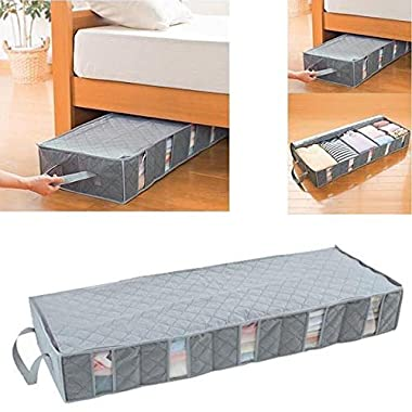OUNONA 53L Foldable Clothes Storage Bags Under Bed Storage Containers Space Saver Storage Bag Organizer Box with Windows