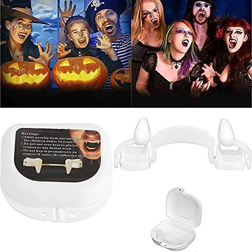 Retractable Halloween Vampire Fangs, Reusable Horrifying Vampire Fangs Teeth, Retractable Plastic Braces, Dentures Costume Party Props Fangs,Horror False Teeth Fake Teeth Prop (Size : 1pcs)