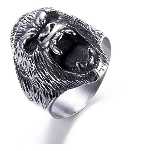 Anel Aço Inox King Kong Gorila Planeta Dos Macacos Pet Zoo (PRATEADO, 28)