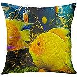 Throw Pillow Cover Acuario Azul de Peces Tropicales en el Arrecife de Coral Colorido Acuático Atlántico Funda de Almohada Decorativa Decoración del hogar Funda de Almohada Cuadrada