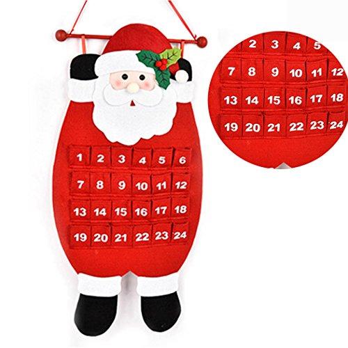 tpocean Navidad cuenta atrás Calendario de Papá Noel Muñeco de nieve ciervo para colgar calendario de adviento decoración para el hogar