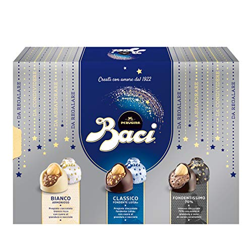 Baci Perugina Cioccolatini Assortiti Ripieni al Gianduia e Nocciola Intera Scatola, 225 Gr