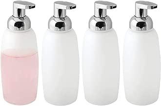 mDesign Modern Glass Refillable Foaming Soap Dispenser Pump Bottle for Bathroom Vanity Countertop, Kitchen Sink - Save on Soap - Vintage-Inspired, Compact Design Pack of 4 Frost/Chrome 00727MDBST