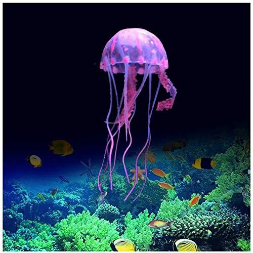FuninCrea Decorazioni di Meduse per Acquario, Ornamento di Piante di Meduse di Simulazione,Decorazioni di Meduse Luminose per Acquari, Decorazioni per Acquari Adatte a Vari Acquari (Rosa)