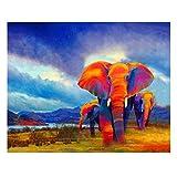 N/O Pintura por números para Adultos Niños DIY Pintura al óleo Kit Pintura Elefante 40 x 50cm con Marco Lienzo Pintura Arte Decoraciones para el hogar Regalos