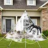 Villsure Halloween Decorations, Giant Spider Web with Super Stretch Cobweb, Giant Spider and 27 Small Fake Spiders, Creepy Decor for Outdoors and Indoors, 16Ft