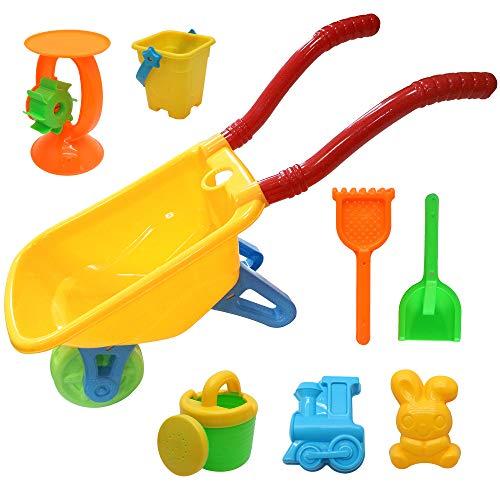Bramble 8 Pack Juego de Carretilla con la Pala Rastrillo Cubo 2 Moldes Regadera y Molino de Agua - Juguetes para la Arena, la Playa y en el Jardín Niños Bebe Infantil