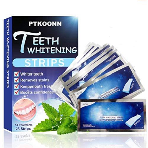 White Stripes,Bleaching Stripes,28pcs Zahnaufhellung Zahn für Weißere Zähne Zahnweiß Streifen mit Minzgeschmack,Zahnaufhellung weiße Zähne