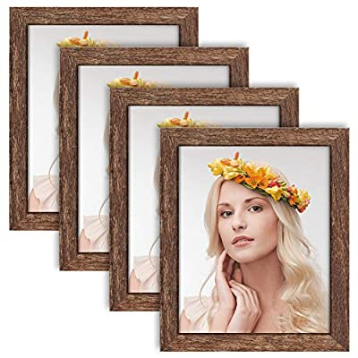 ZIRANLING Picture Frames 8x10 Wood Rustic Brown Set of 4 Packs for Table Top and Wall Mounting Display