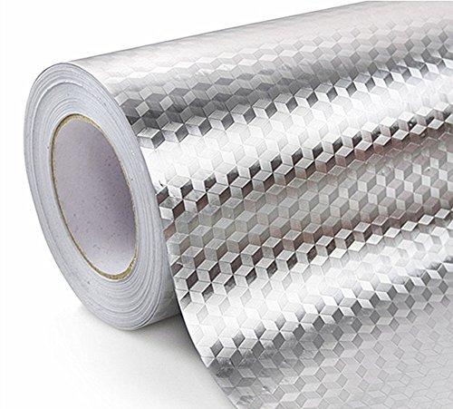 WDragon Pegatina de aluminio impermeable para cocina, antigraso para encimera, 61 x 250 cm (WZ-2)