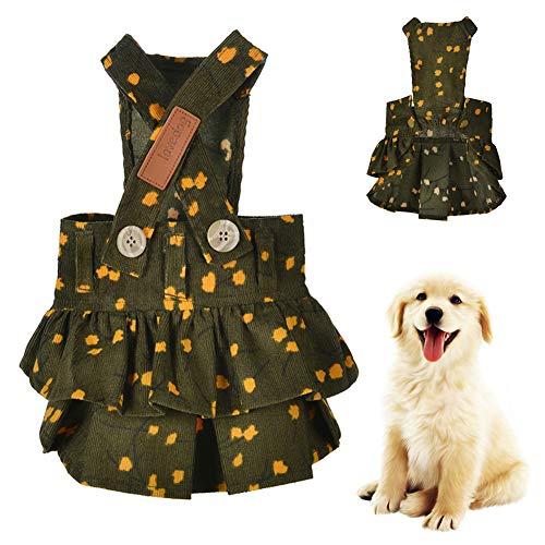 Dyyicun12 Hond Rok, Herfst Huisdier Hond Puppy Corduroy Overalls Jurk Strap Rok Zachte Kerstmis Nieuwjaar Party Kleding, L