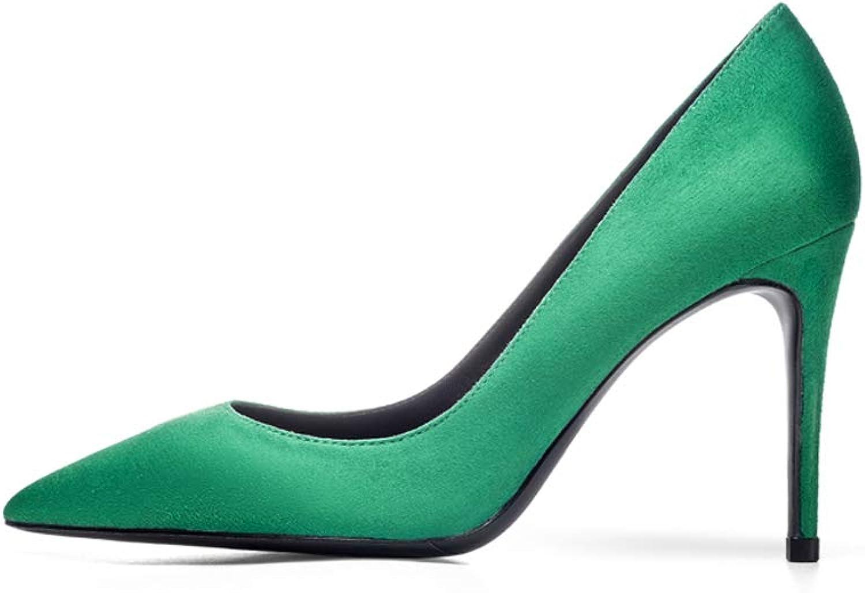 Grüne High Heels Matte Wildleder spitze Flacher Mund Einzelne Schuhe Professionelle Pendler Damenschuhe Stckel Absatz Schuhe Frosted High Heel Wildleder Grüne Schuhe ( Farbe   Grün , gre   37 )