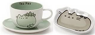 Enesco Pusheenosaurus Tea Cup and Saucer bundle with Classic Pusheen Tea Bag Holder