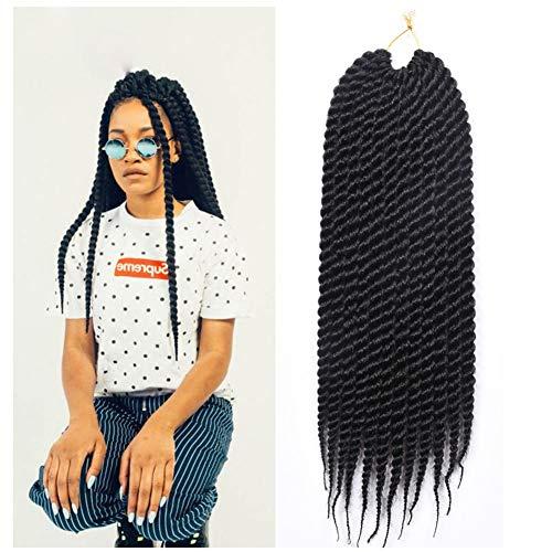 Postizos, Africano Trenzas Jumbo Suave Natural Mujer Extensiones De Cabello Resistente Al Calor Fibra Sintética Hecho A Mano Peluca, Pack De 12 Raíces (Color : Negro)