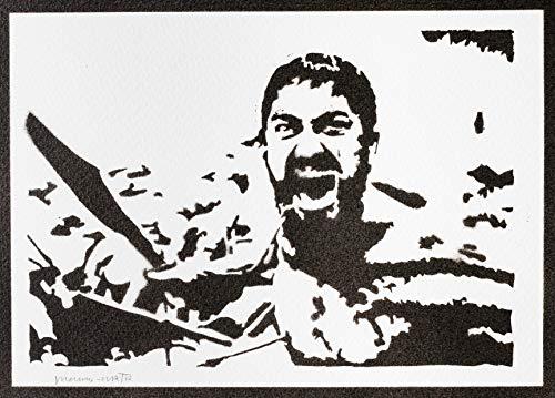 Poster 300 Rey Leonidas Grafiti Hecho a Mano - Handmade Street Art - Artwork