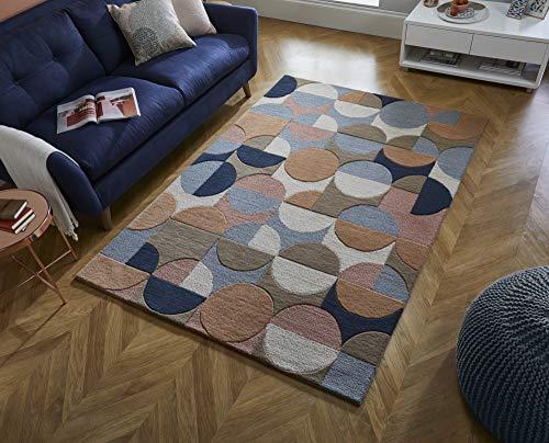 Rugs With Flair Moderno Gigi Circles - Alfombra de Lana (120 x 170 cm), diseño geométrico, Color Azul