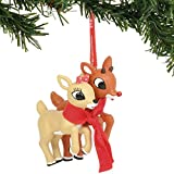 Department 56 Rudolph The Red-Nosed Reindeer and Clarice Hanging Ornament, 3.5 Inch, Multicolor