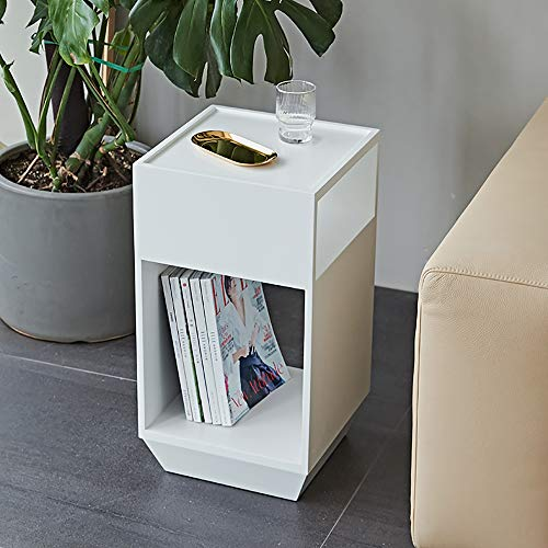 Best Review Of VBARV Industrial Nightstand,360 ° Rotating Side Table,with 2 Separable Storage Compa...