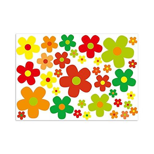 easydruck24de stickerset bloemen bloemen bloemen kleurrijk I Flower Power Sticker voor scooter fiets notebook laptop mobiele telefoon autosticker I weerbestendig I kfz_243