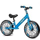ZG-HOME Bicicleta de Equilibrio Bicicleta de Equilibrio Sin Pedal,Niños Grandes/Adolescentes de 2 A 12 Años,Bicicleta de Paseo con Reposapiés Ensanchado Y Asiento AjustableBlue-16 Inch