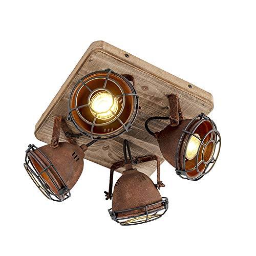 QAZQA - Industrie | Industrial IndustrieSpot | Spotlight | Deckenspot | Deckenstrahler | Strahler | Lampe | Leuchte rostbraun mit Holz kippbar 4-flammig Spotbalken-Licht - Gina | Wohnzimmer | Schlafzi