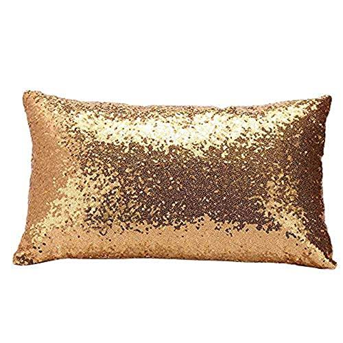 Aiserkly 2019 - Funda de cojín rectangular con lentejuelas para sofá, cama, decoración del hogar, 30 x 50 cm, dorado, 30cm*50cm/11.8*19.7'