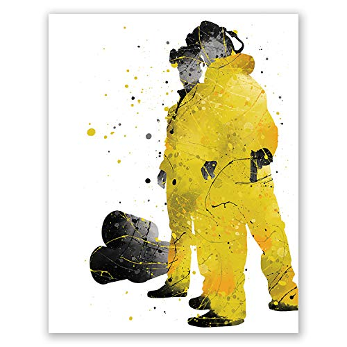 Breaking Bad Art Poster – Movie Watercolor Wall Decor Print – Heisenberg Bryan Cranston Walter White Pinkman Jessee Portrait Artwork – Film Cult Poster (8x10)