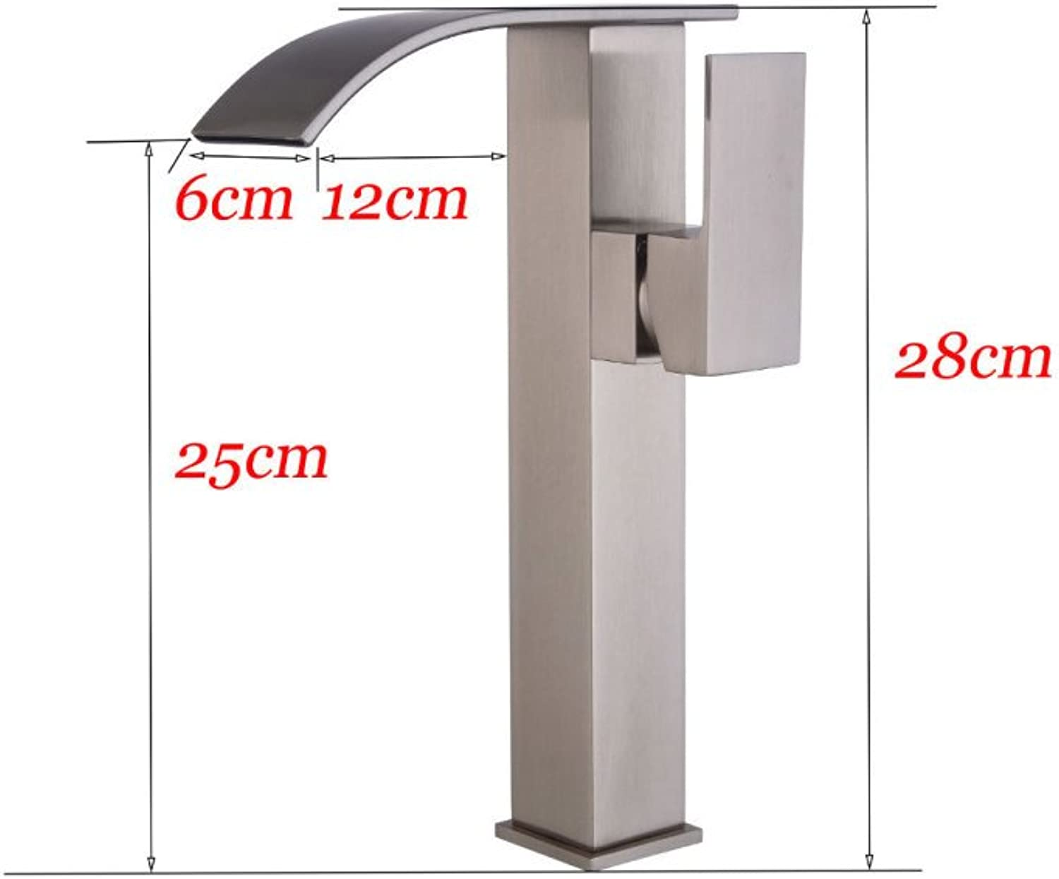 GZF Faucet Brushed Faucet Above Counter Basin High Faucet Waterfall Faucet Bathroom Copper Faucet