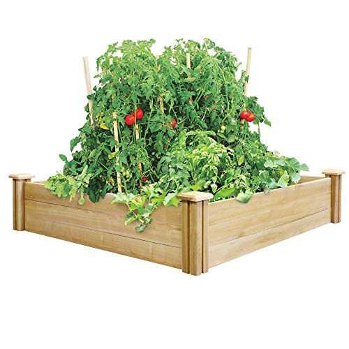 Greenes Fence Cedar Raised Garden Bed, (4 Ft. X 4 Ft. X 10.5 In.)