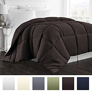 Beckham Hotel Collection 1300 Series - All Season - Luxury Goose Down Alternative Comforter - Hypoallergenic  - King/Cal King - Chocolate