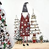 Easy-topbuy Calendario de Adviento de Navidad exquisito Papá Noel, para colgar en la pared, calendario de cuenta regresiva con 23 bolsillos numerados, decoración de puerta gris/rojo 95 x 31 cm