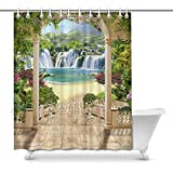Cortina de baño Lovely Terrace with Views of Waterfall Sea Flowers and Arches Decor Waterproof Polyester Fabric Shower Curtain Bathroom Sets with Rings, 66(Wide) x 72(Height) Inches