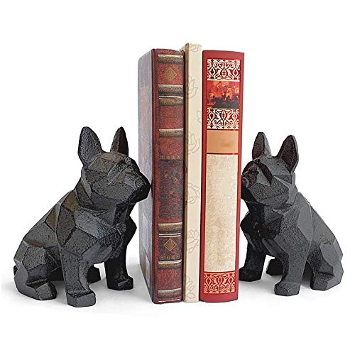 Ambipolar Decorative Bookends Geometric Dog Theme , Heavy Duty Cast Iron, Dog Statue, Vintage Shelf Decor, Antique Black (2 Pack), T5-8