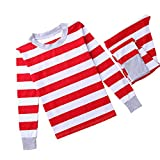 cinnamou Pijama Familiar NavideñO, Conjunto De Pijama Ropa De Dormir Rojo Tops + Pantalones A Rayas para NiñOs Adulto Monos De Bebé Mameluco Homewear De Invierno Cuello Redondo Manga Larga