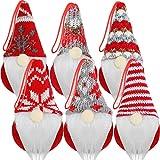 Skylety 6 Piezas de Adornos Colgantes de Gnomos para Árboles de Navidad Gnomos Tomte Suecos Hechos a Mano Gnomos de Peluche sin Rostro Decoraciones Colgantes de Papá Noel Elfo para Árbol de Navidad