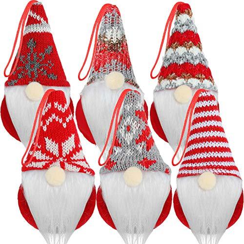 6 Ornamenti Pendenti degli Gnomi dell'albero di Natale Gnomi Tomte Svedesi Fatti a Mano Gnomi di Peluche Senza Volto Decorazioni da Appendere di Babbo Natale per Albero di Natale